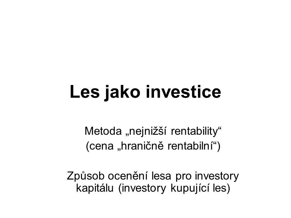 """Les jako investice Metoda """"nejnižší rentability"""