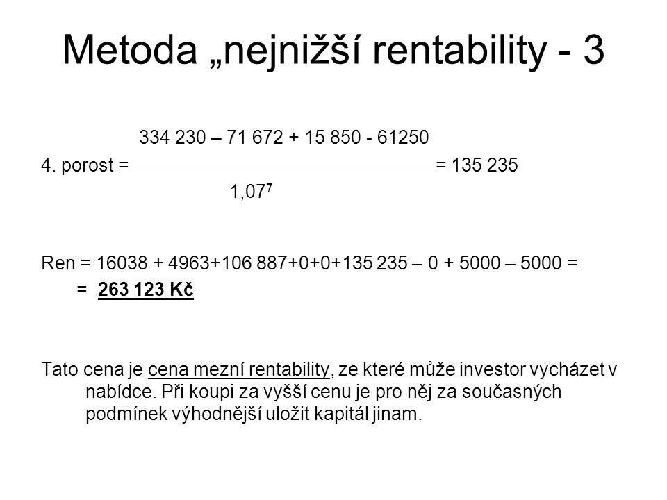"""Metoda """"nejnižší rentability - 3"""