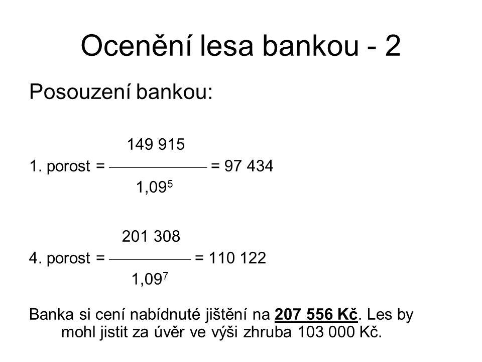 Ocenění lesa bankou - 2 Posouzení bankou: 149 915