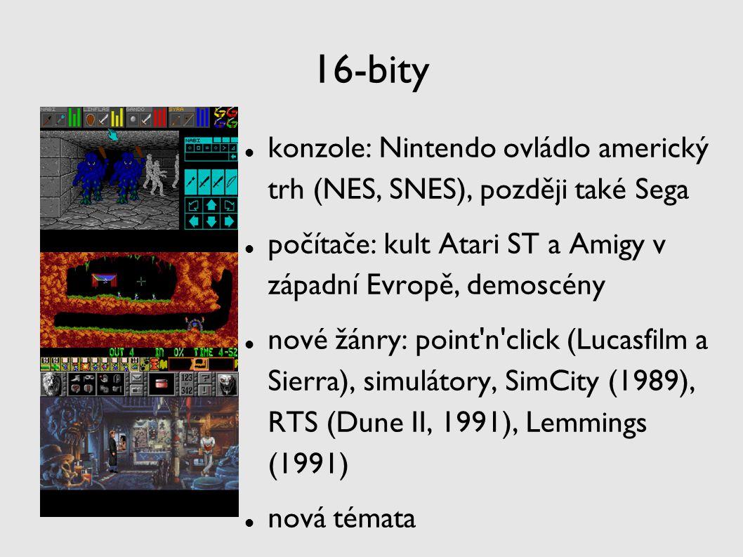 16-bity konzole: Nintendo ovládlo americký trh (NES, SNES), později také Sega. počítače: kult Atari ST a Amigy v západní Evropě, demoscény.