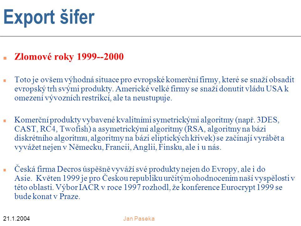 Export šifer Zlomové roky 1999--2000