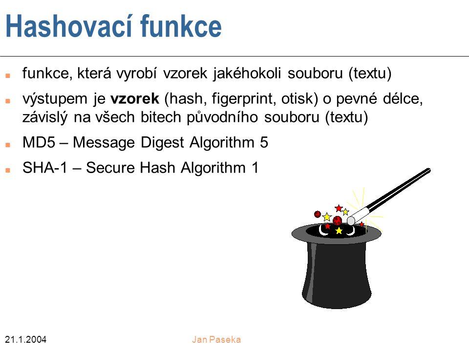 Hashovací funkce funkce, která vyrobí vzorek jakéhokoli souboru (textu)