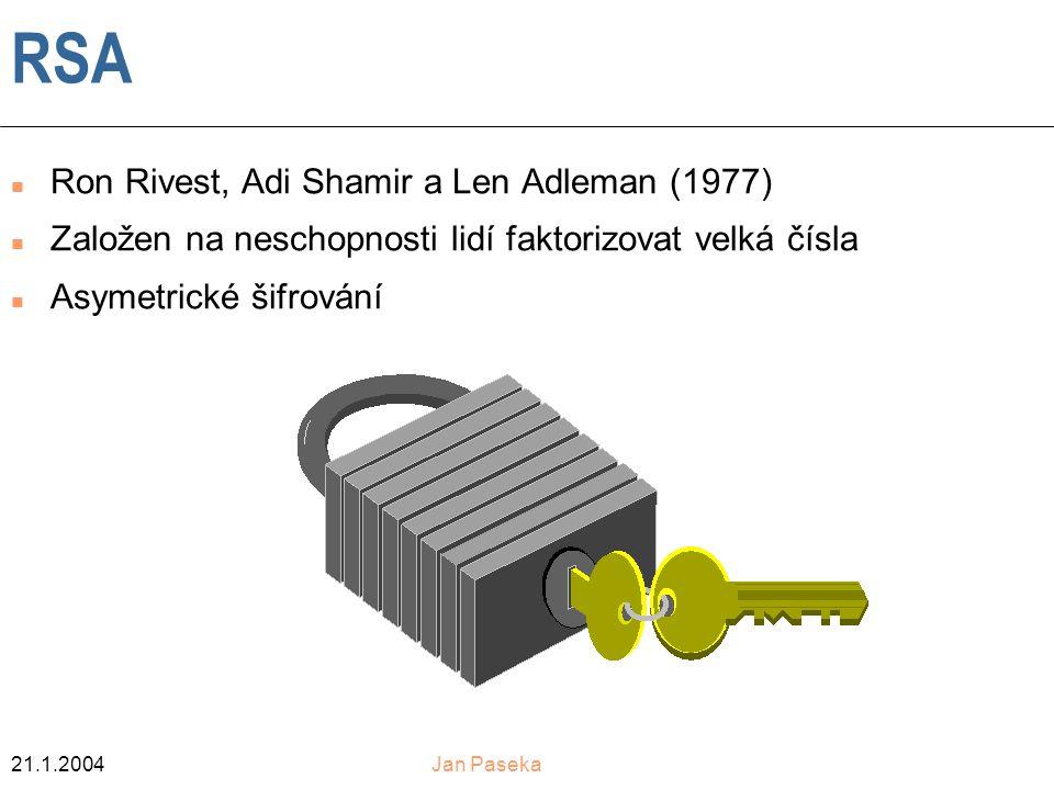 RSA Ron Rivest, Adi Shamir a Len Adleman (1977)