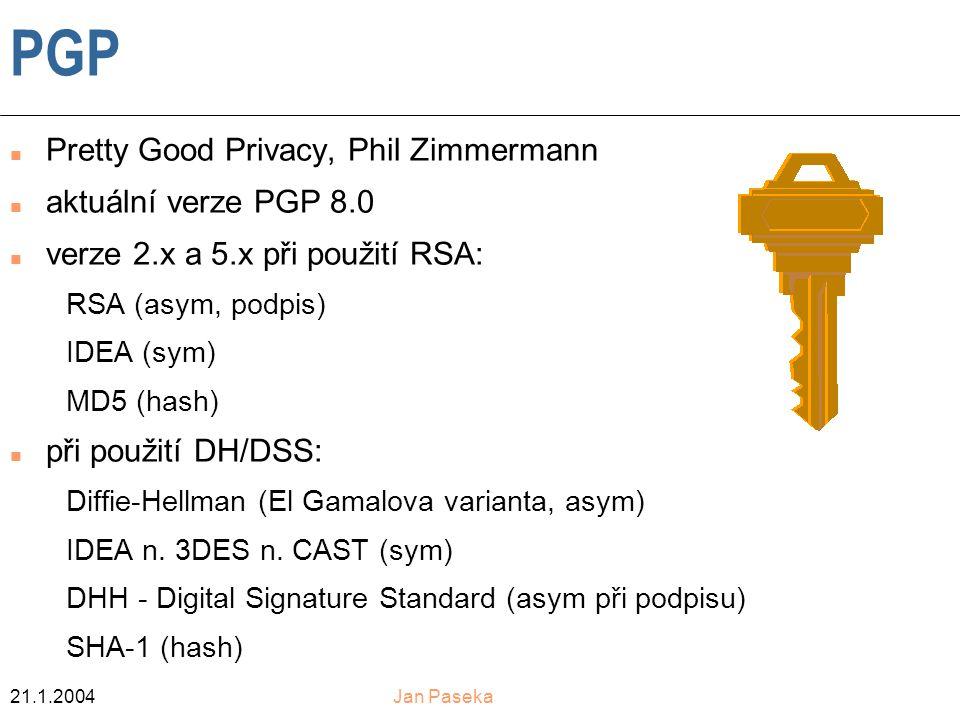 PGP Pretty Good Privacy, Phil Zimmermann aktuální verze PGP 8.0