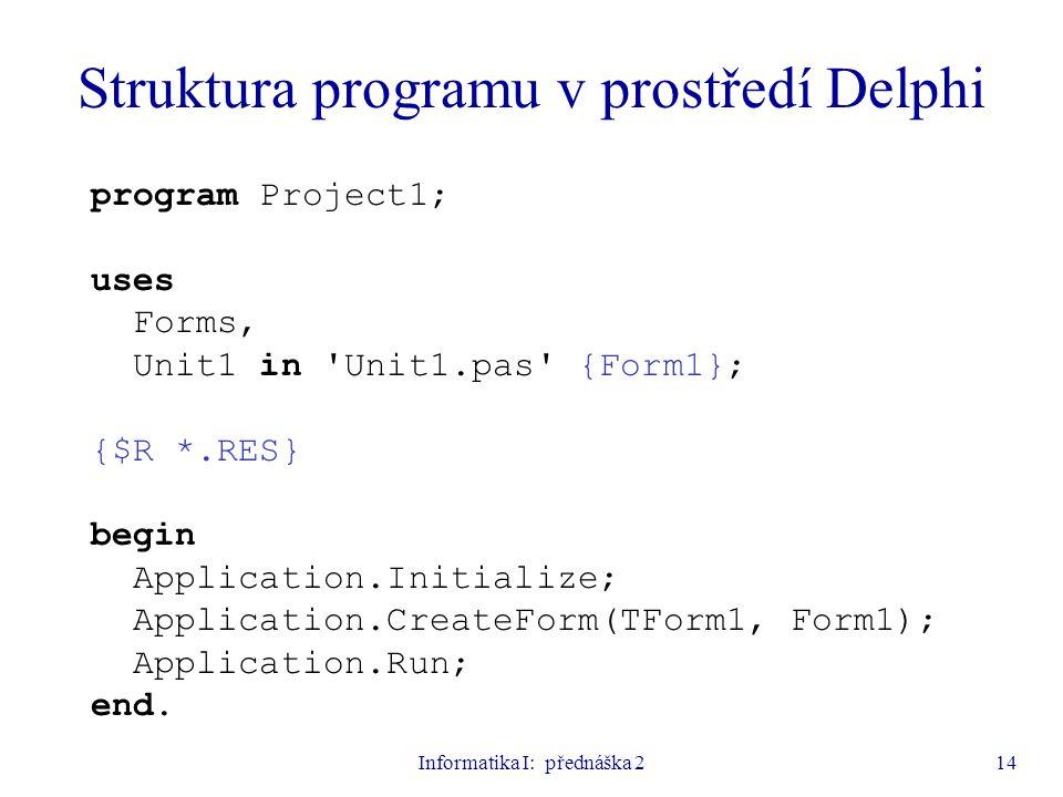 Struktura programu v prostředí Delphi