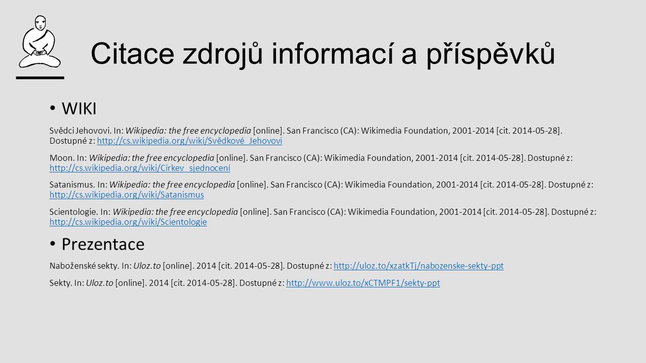 Citace zdrojů informací a příspěvků