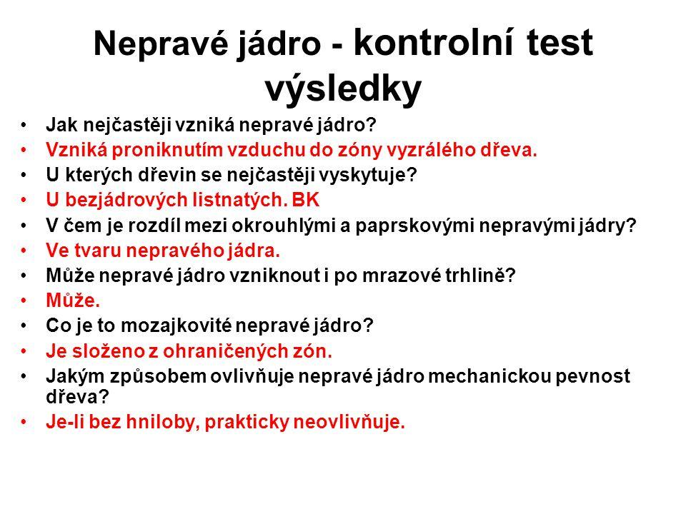 Nepravé jádro - kontrolní test výsledky