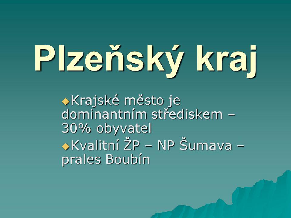 Plzeňský kraj Krajské město je dominantním střediskem – 30% obyvatel