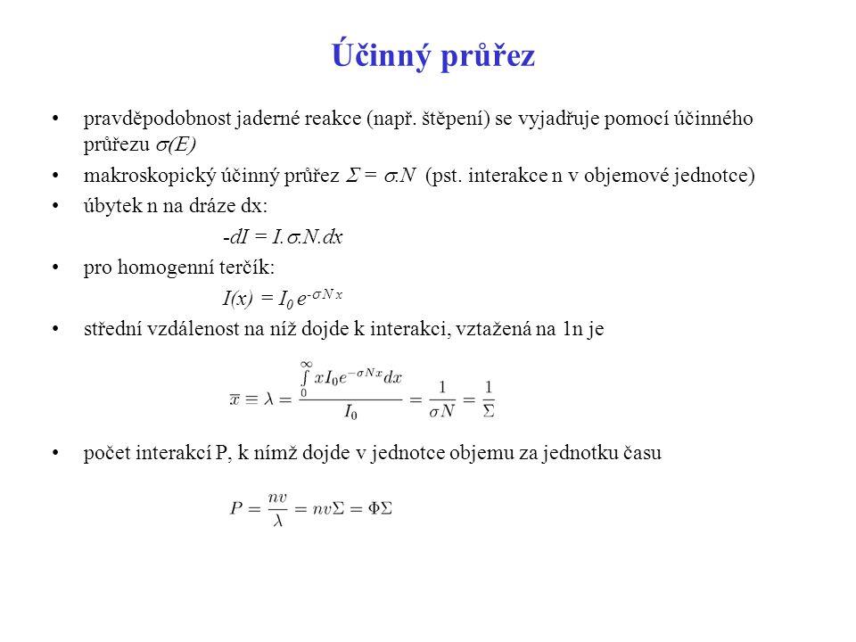 Účinný průřez pravděpodobnost jaderné reakce (např. štěpení) se vyjadřuje pomocí účinného průřezu s(E)