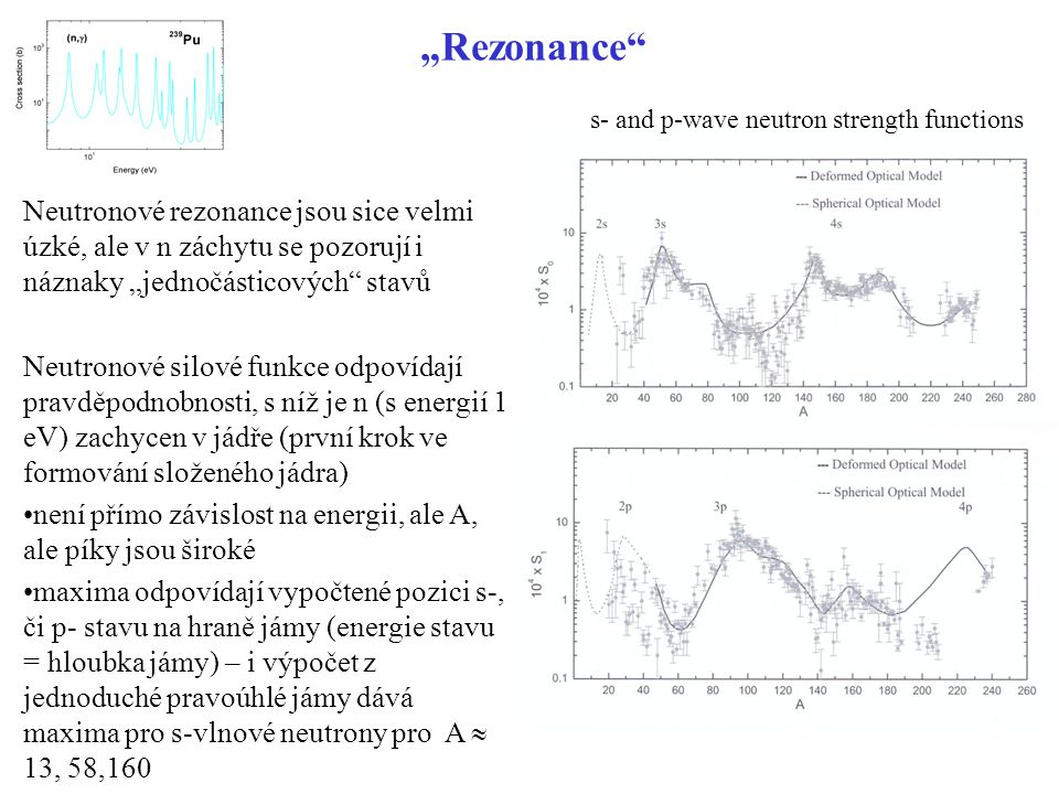 """Rezonance s- and p-wave neutron strength functions."