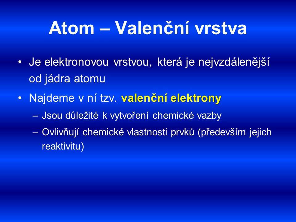Atom – Valenční vrstva Je elektronovou vrstvou, která je nejvzdálenější od jádra atomu. Najdeme v ní tzv. valenční elektrony.