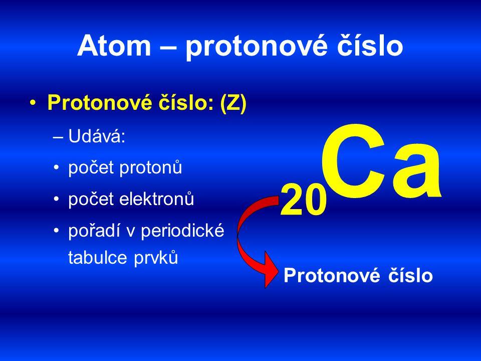 Ca 20 Atom – protonové číslo Protonové číslo: (Z) Protonové číslo