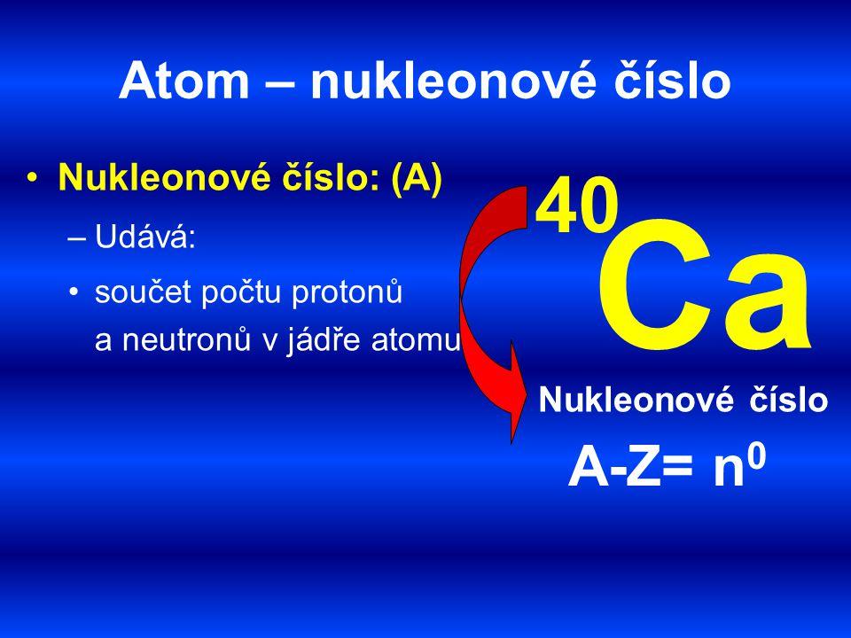 Atom – nukleonové číslo