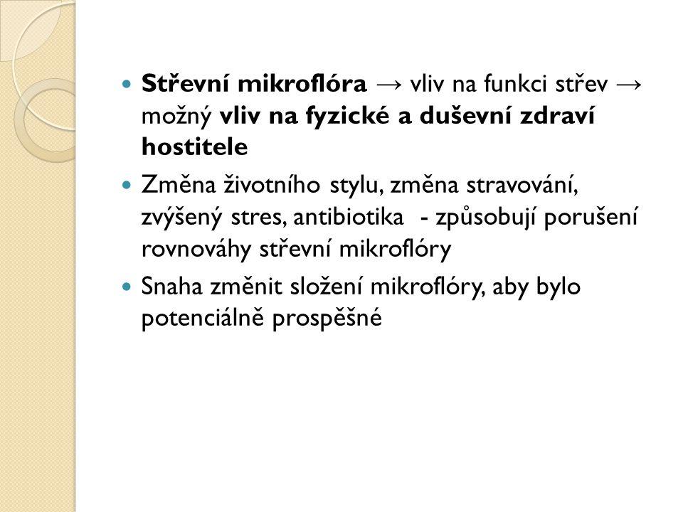 Střevní mikroflóra → vliv na funkci střev → možný vliv na fyzické a duševní zdraví hostitele