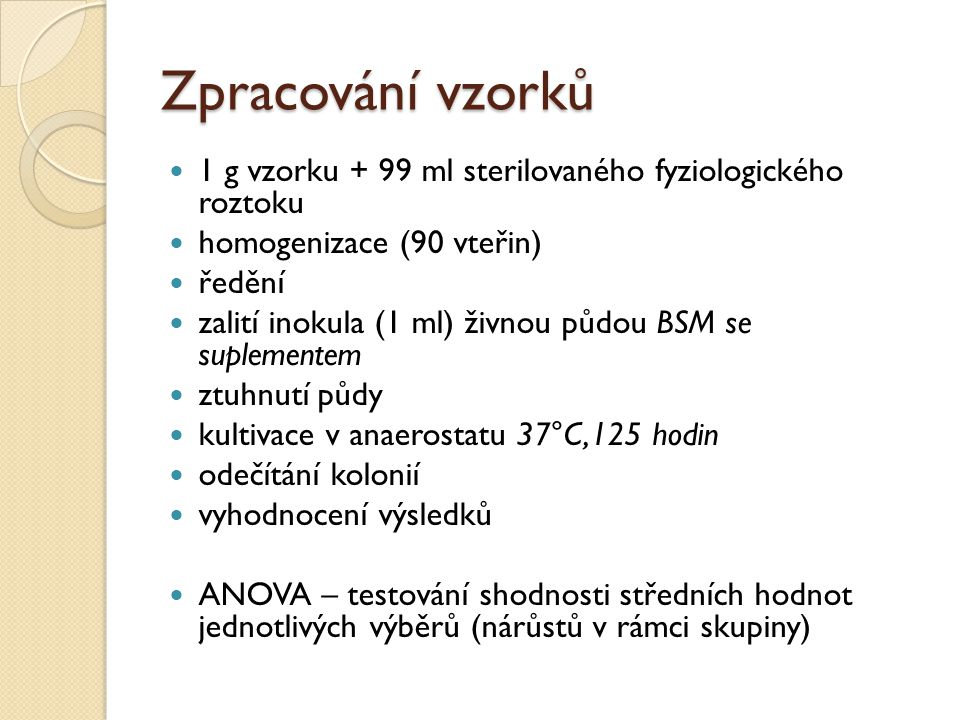 Zpracování vzorků 1 g vzorku + 99 ml sterilovaného fyziologického roztoku. homogenizace (90 vteřin)