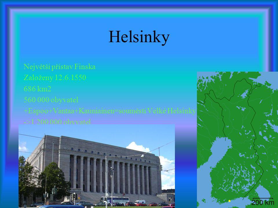 Helsinky Největší přístav Finska Založeny 12.6.1550 686 km2