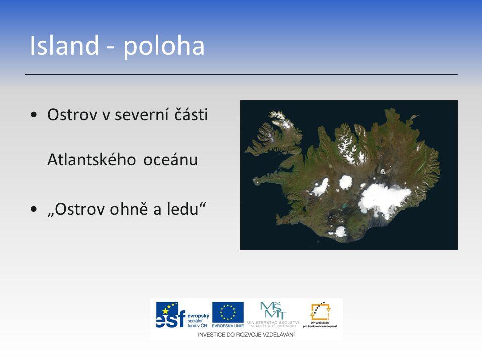 Island - poloha Ostrov v severní části Atlantského oceánu
