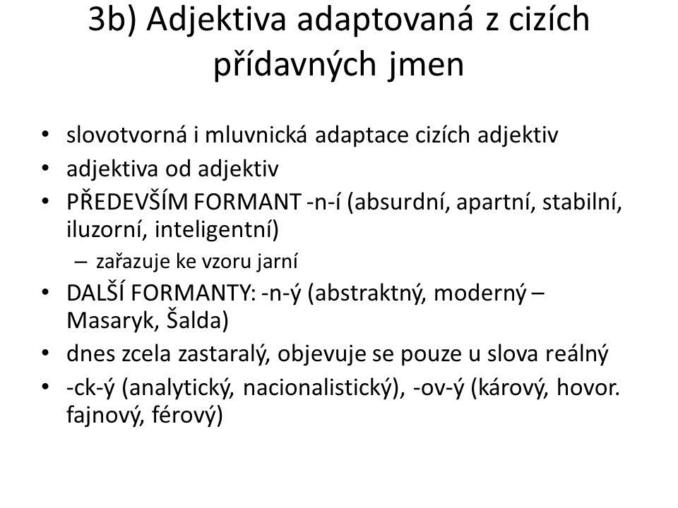 3b) Adjektiva adaptovaná z cizích přídavných jmen