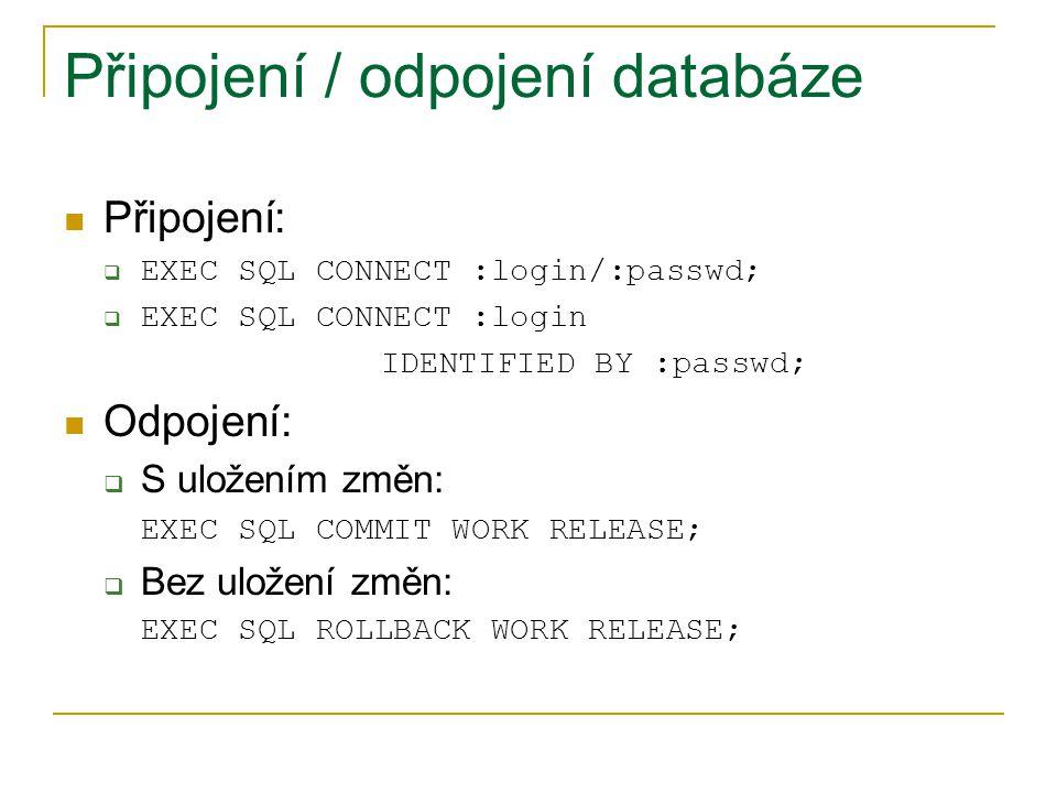 Připojení / odpojení databáze