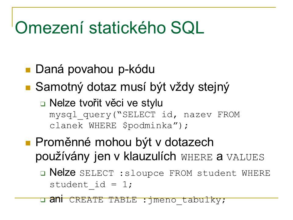 Omezení statického SQL