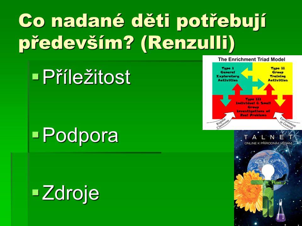 Co nadané děti potřebují především (Renzulli)