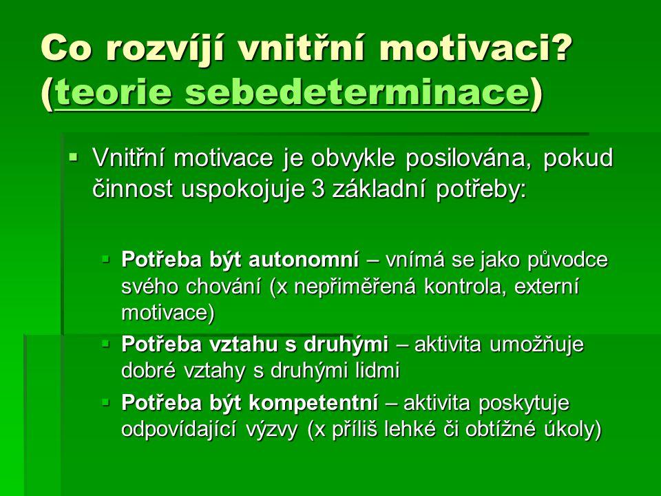 Co rozvíjí vnitřní motivaci (teorie sebedeterminace)