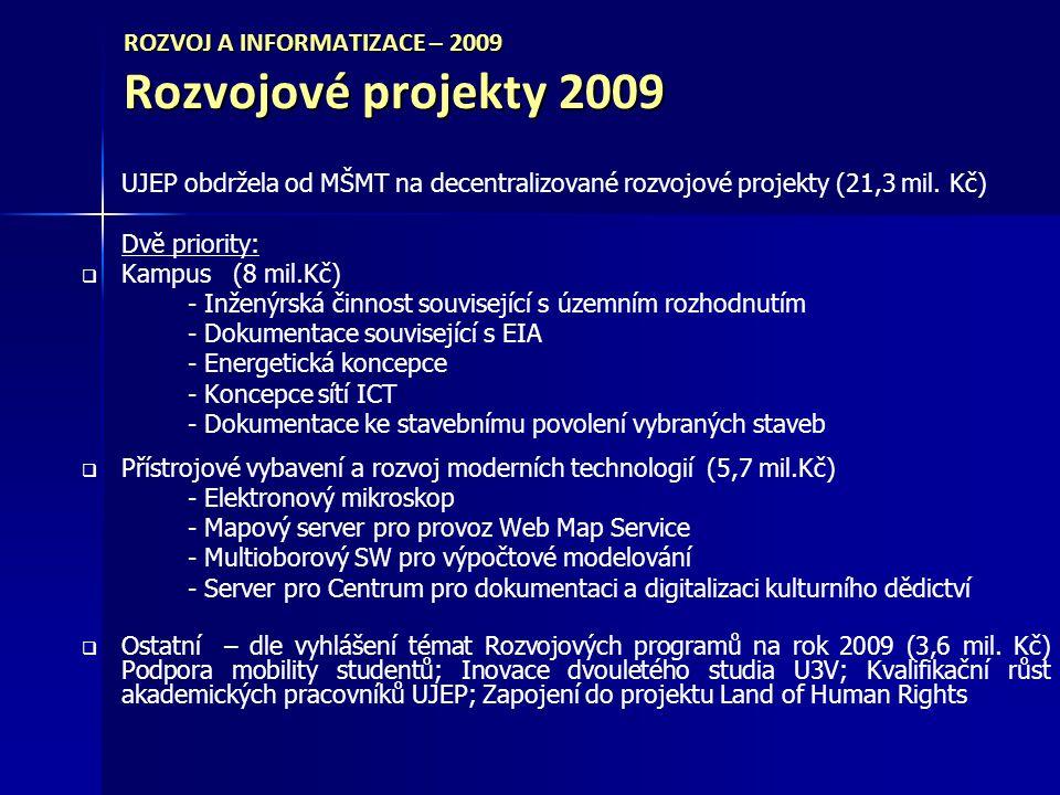 ROZVOJ A INFORMATIZACE – 2009 Rozvojové projekty 2009