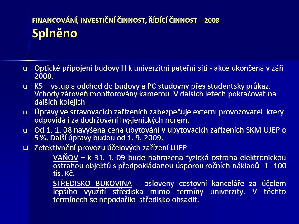 FINANCOVÁNÍ, INVESTIČNÍ ČINNOST, ŘÍDÍCÍ ČINNOST – 2008 Splněno
