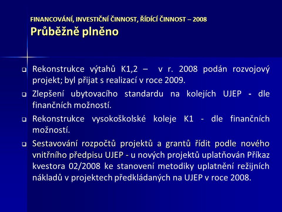 FINANCOVÁNÍ, INVESTIČNÍ ČINNOST, ŘÍDÍCÍ ČINNOST – 2008 Průběžně plněno