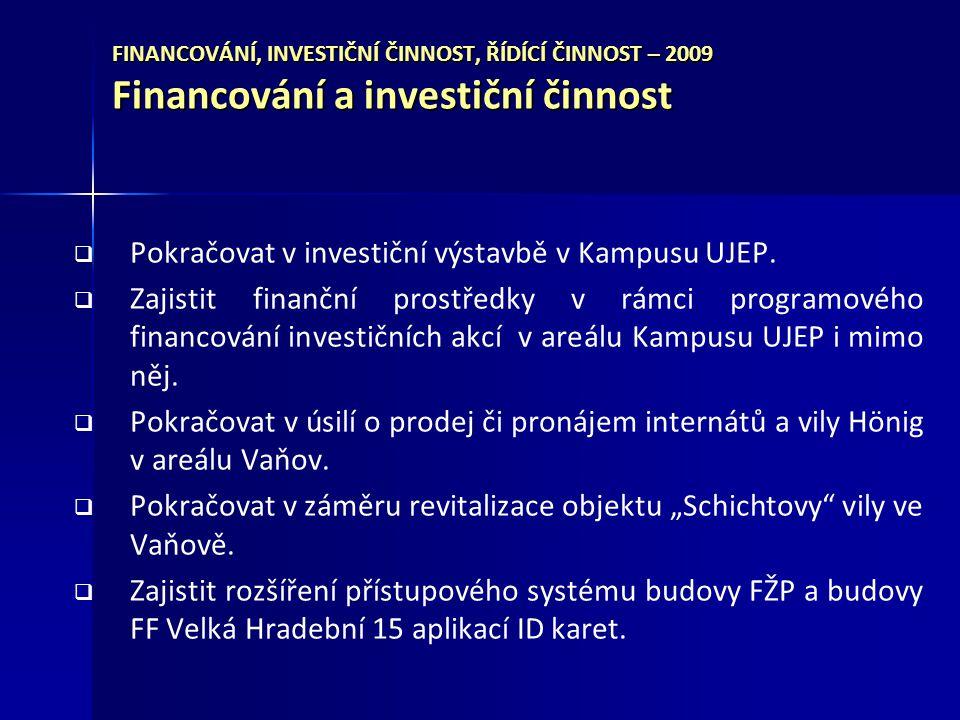 Pokračovat v investiční výstavbě v Kampusu UJEP.