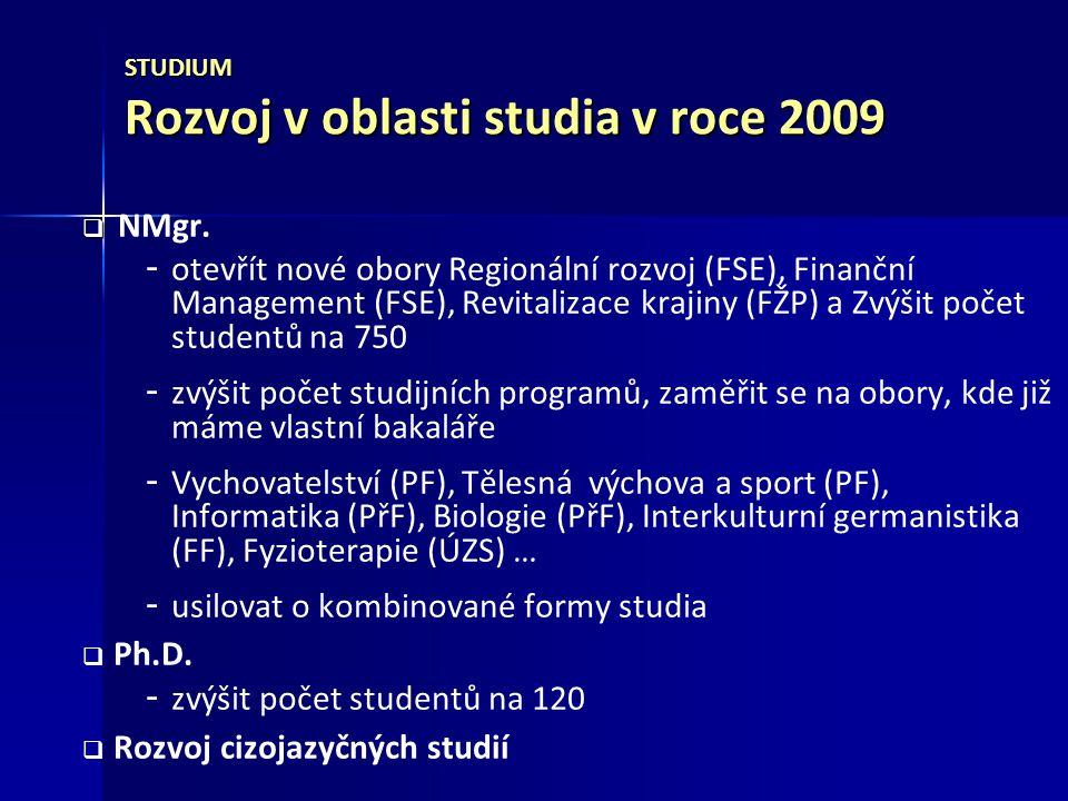 STUDIUM Rozvoj v oblasti studia v roce 2009