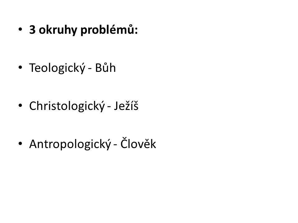 3 okruhy problémů: Teologický - Bůh Christologický - Ježíš Antropologický - Člověk