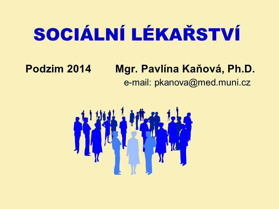 SOCIÁLNÍ LÉKAŘSTVÍ Podzim 2014 Mgr. Pavlína Kaňová, Ph. D
