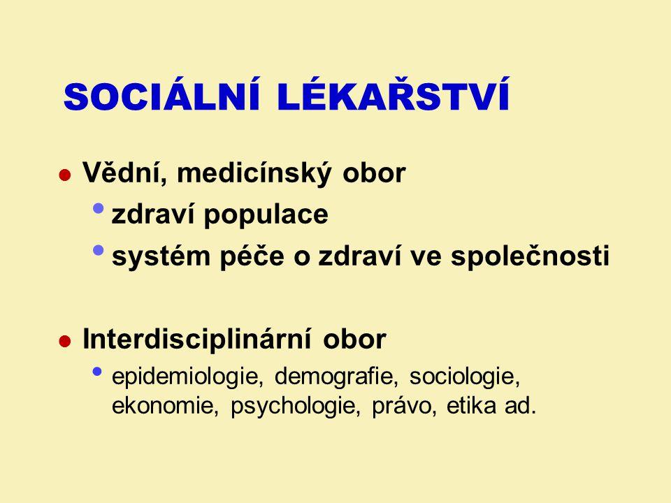 Sociální lékařství Vědní, medicínský obor zdraví populace