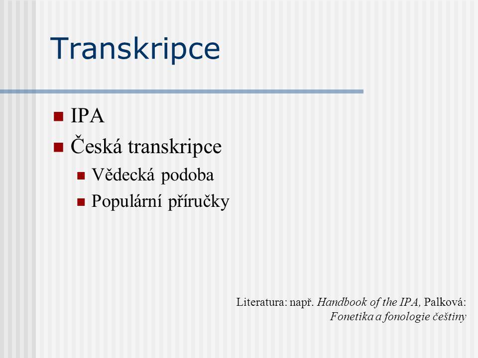 Transkripce IPA Česká transkripce Vědecká podoba Populární příručky