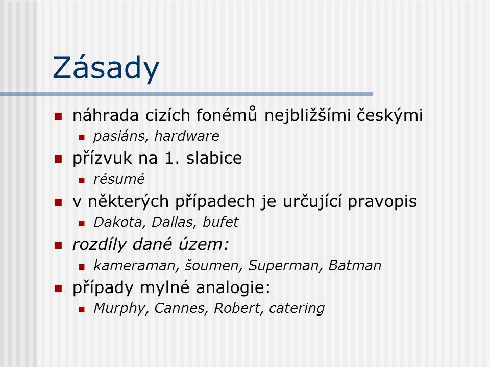Zásady náhrada cizích fonémů nejbližšími českými přízvuk na 1. slabice