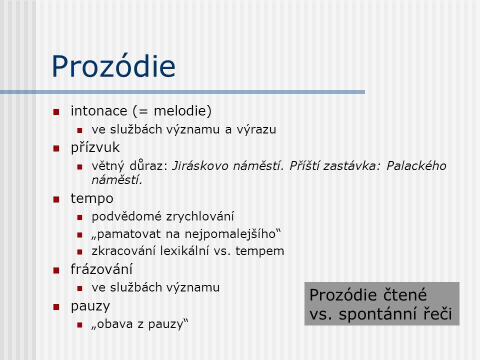 Prozódie Prozódie čtené vs. spontánní řeči intonace (= melodie)