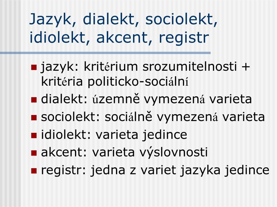Jazyk, dialekt, sociolekt, idiolekt, akcent, registr
