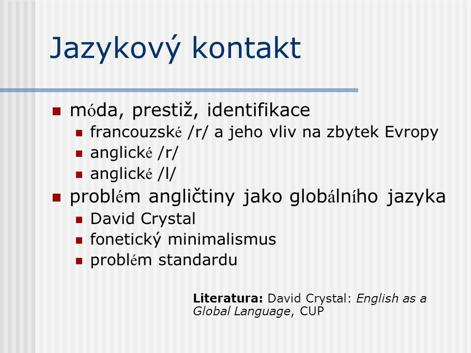 Jazykový kontakt móda, prestiž, identifikace