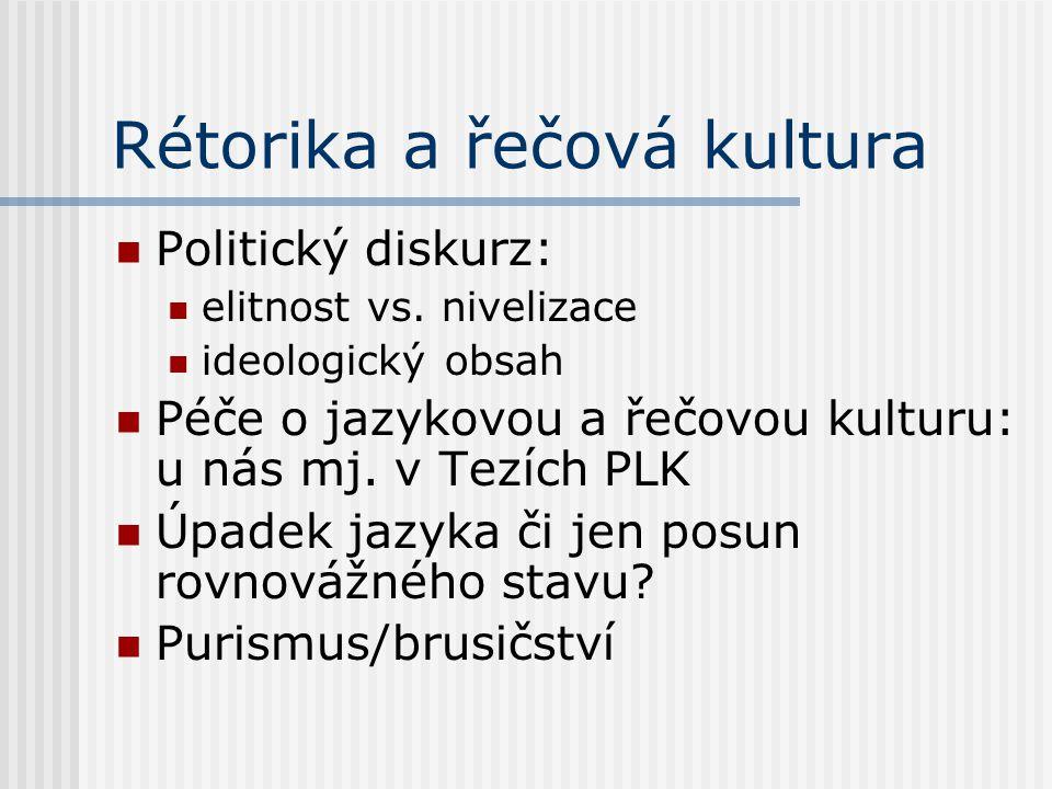 Rétorika a řečová kultura
