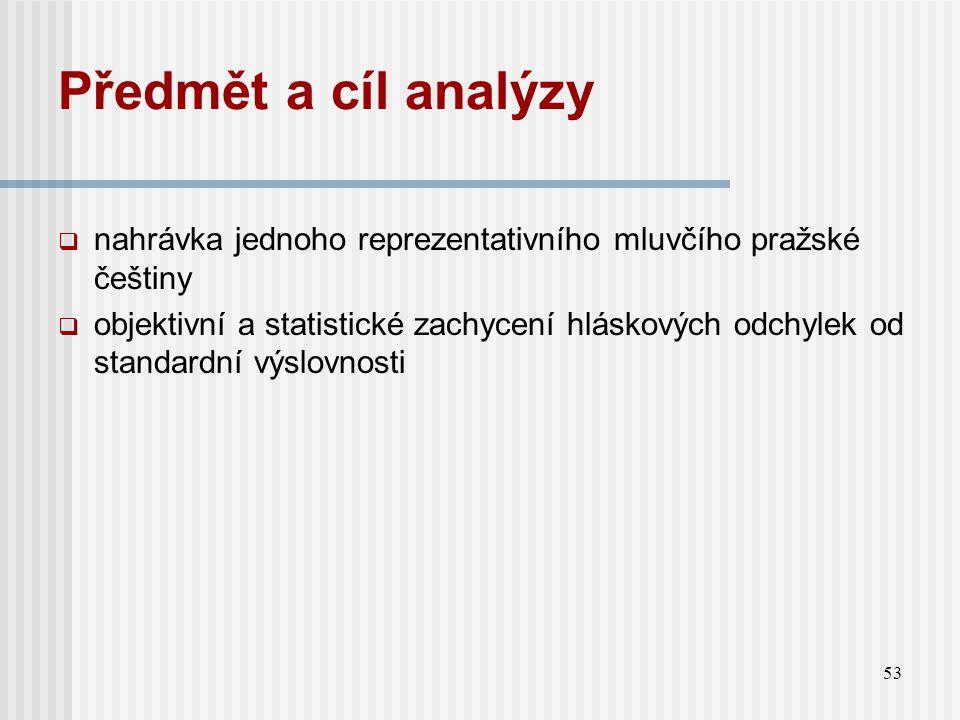 Předmět a cíl analýzy nahrávka jednoho reprezentativního mluvčího pražské češtiny.