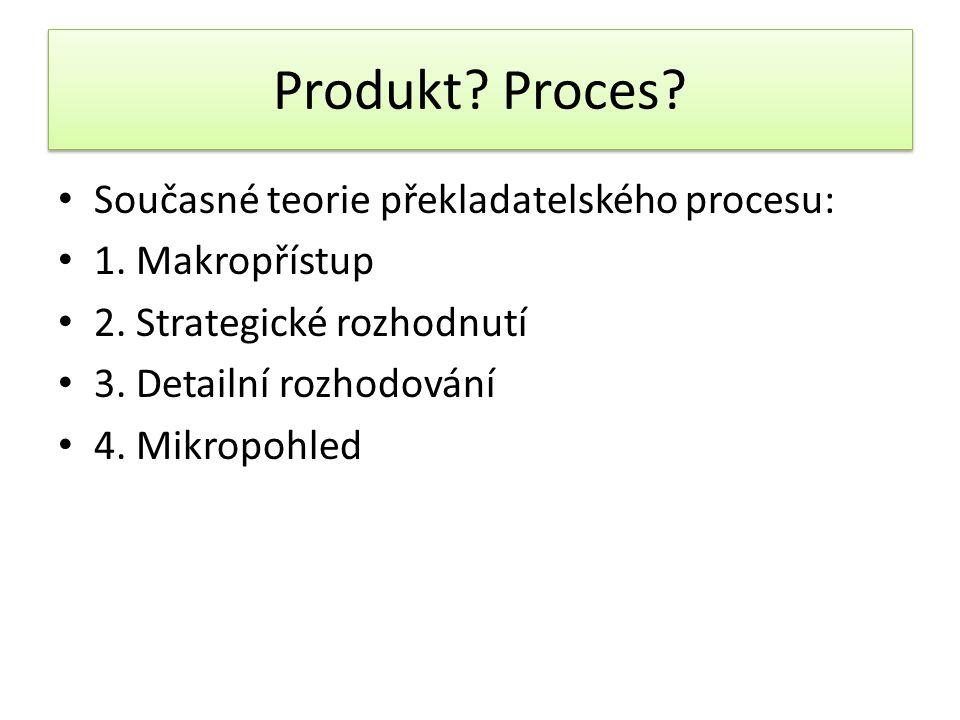 Produkt Proces Současné teorie překladatelského procesu: