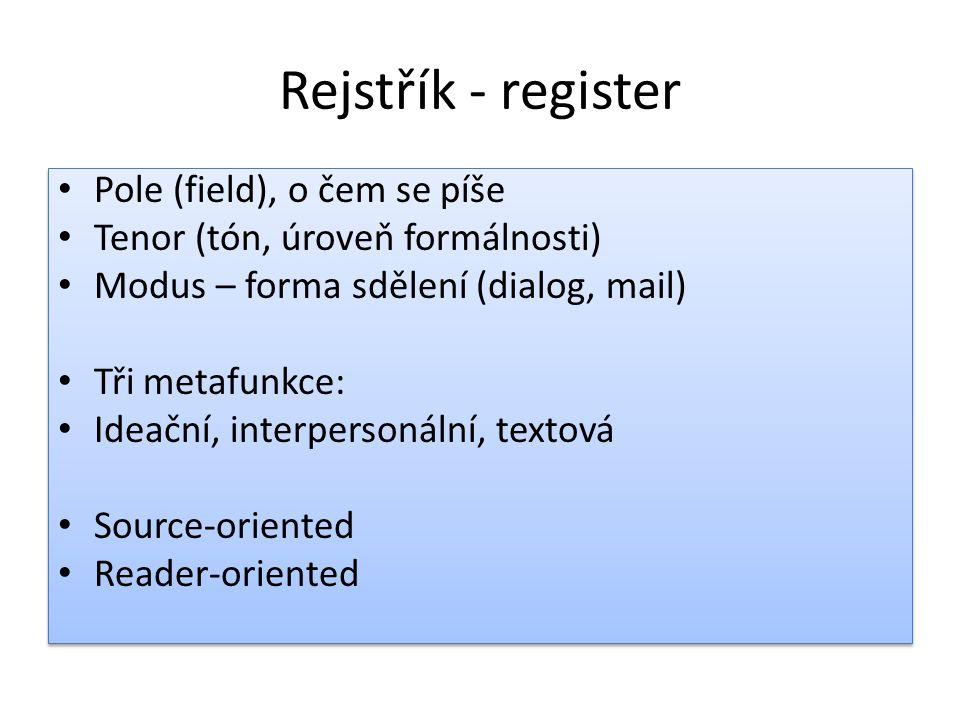 Rejstřík - register Pole (field), o čem se píše