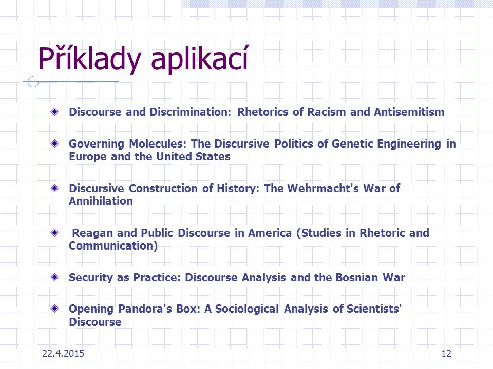 Příklady aplikací Discourse and Discrimination: Rhetorics of Racism and Antisemitism.