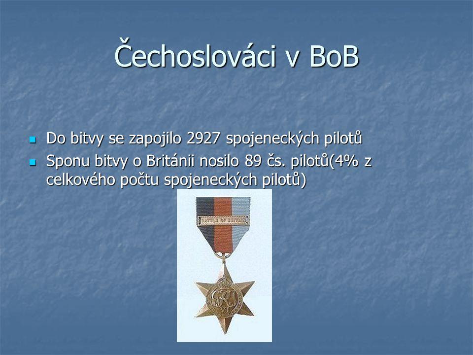Čechoslováci v BoB Do bitvy se zapojilo 2927 spojeneckých pilotů
