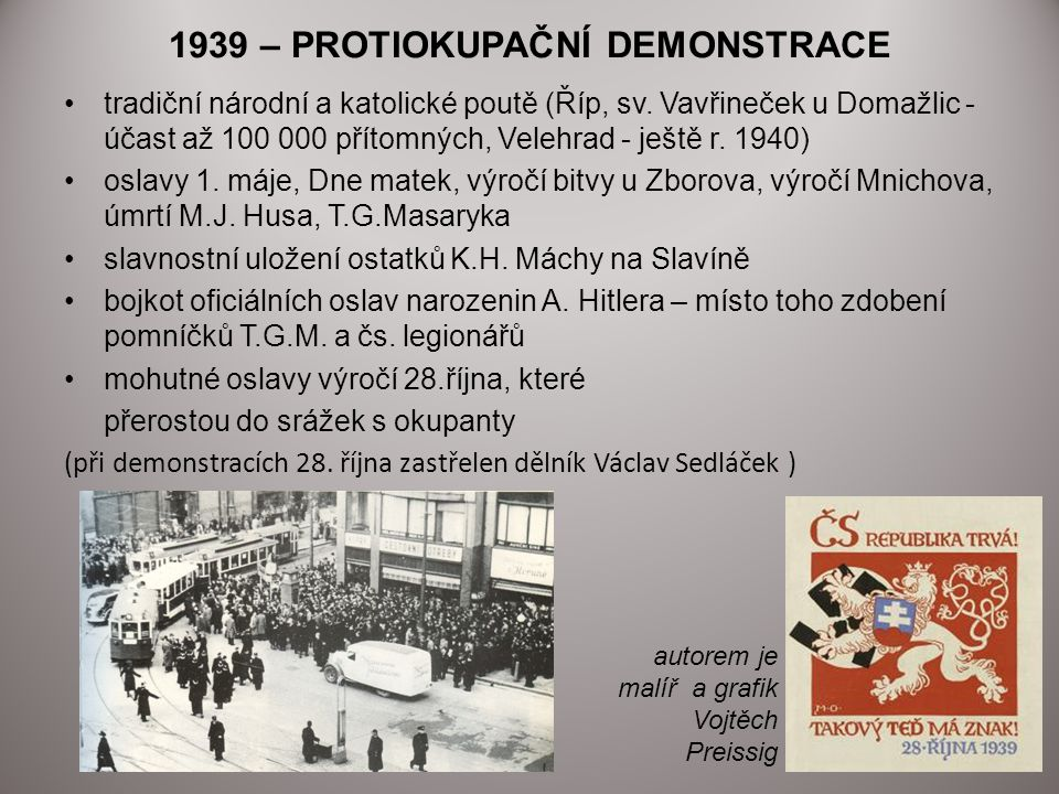 1939 – PROTIOKUPAČNÍ DEMONSTRACE