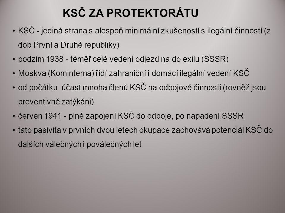 KSČ ZA PROTEKTORÁTU KSČ - jediná strana s alespoň minimální zkušeností s ilegální činností (z dob První a Druhé republiky)