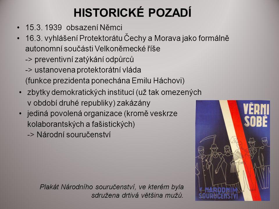 HISTORICKÉ POZADÍ 15.3. 1939 obsazení Němci
