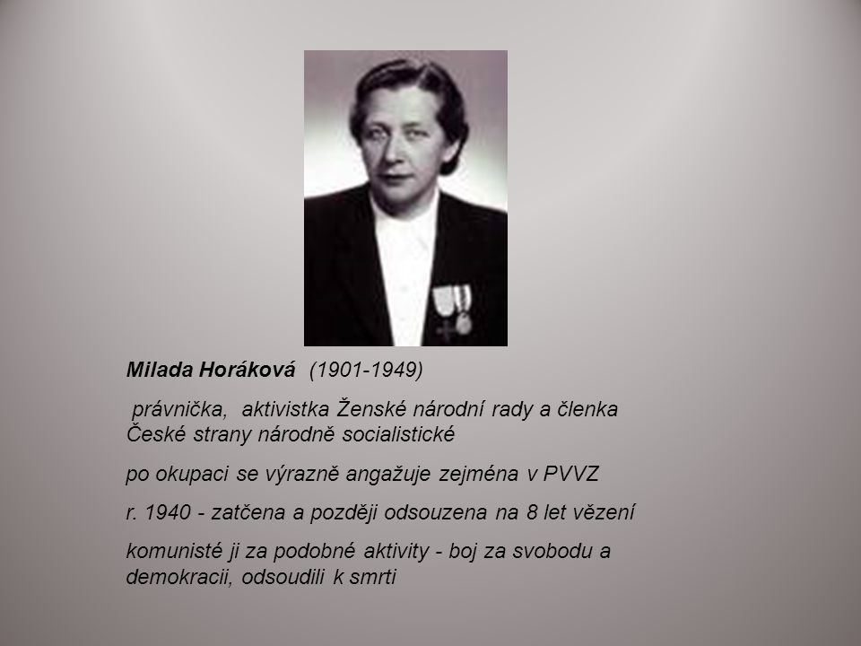Milada Horáková (1901-1949) právnička, aktivistka Ženské národní rady a členka České strany národně socialistické.
