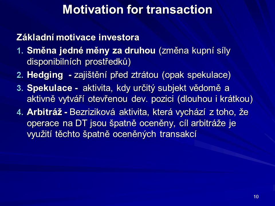 Motivation for transaction